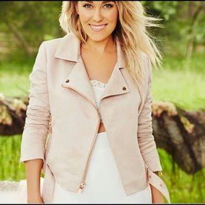 LC Lauren Conrad Faux Suede Moto Jacket